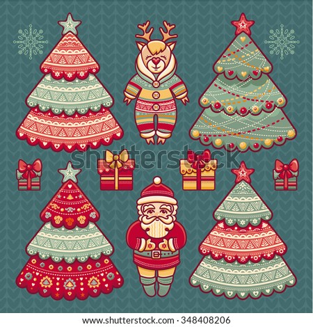 Gift box, Christmas tree, reindeer, Santa Claus, snowflake. Set of color Christmas toys. Holiday decorations. Template for design. New Year decoration. Pattern toy. Raster illustration  - stock photo