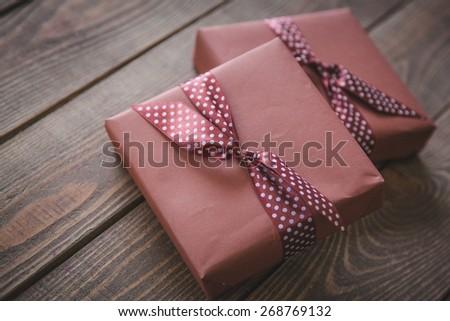 Gift, box, decoration. - stock photo