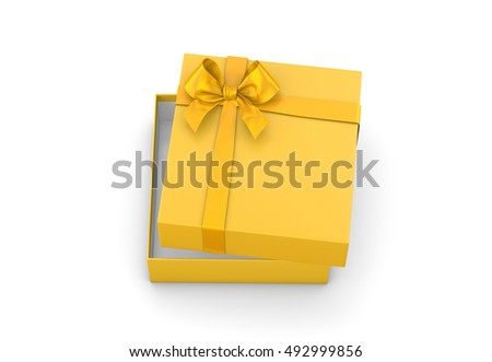 gift box for Christmas, New Year's Day ,Open gold yellow gift box top view white background 3d rendering