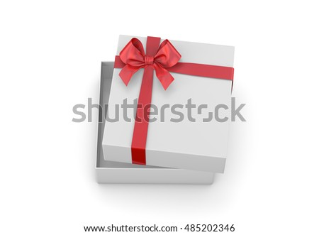 gift box for Christmas, New Year's Day ,Open red gift box top view white background 3d rendering