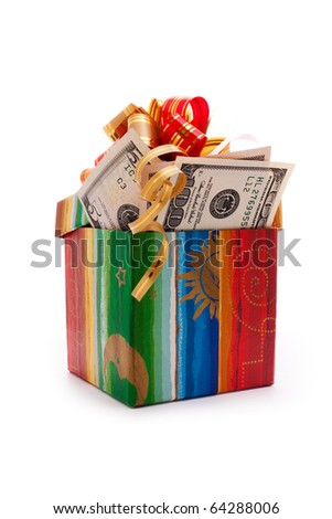 gift box full of dollar bills isolated on white - stock photo