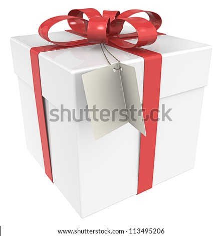Gift Box. Gift Box with Tag, Isolated. - stock photo