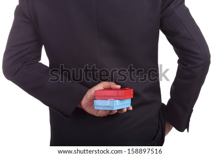 Gift box in hand businessman