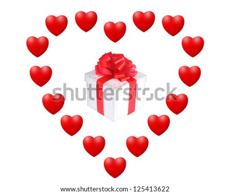 Gift box in the heart, isolated on white - stock photo