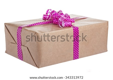 Gift Box Isolated - stock photo
