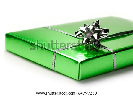 Gift box isolated on white - stock photo