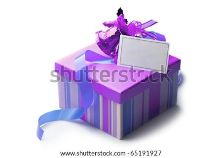 Gift box isolated on white - stock photo