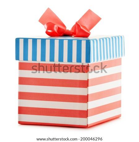 Gift box isolated on white background. - stock photo