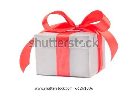 Gift box  isolated on white. side view. - stock photo