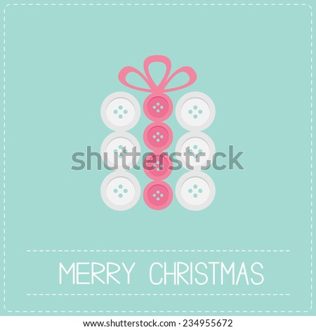 Gift box made from white pink buttons.  Appligue Dash line Merry Christmas card Flat design  - stock photo