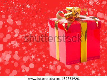 Gift box on bokeh background