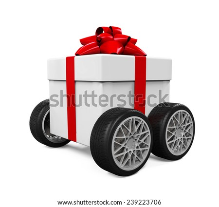 Gift Box on Wheels - stock photo