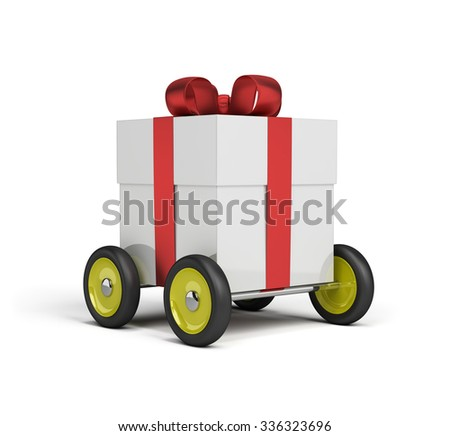 Gift box on wheels. 3d image. White background. - stock photo