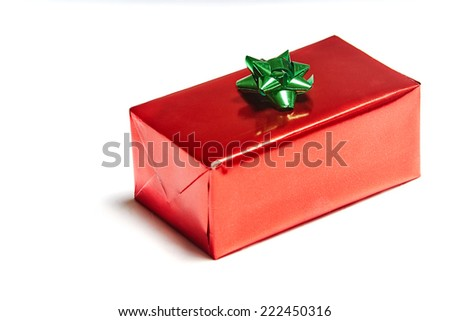 Gift box on white background with space for text - stock photo