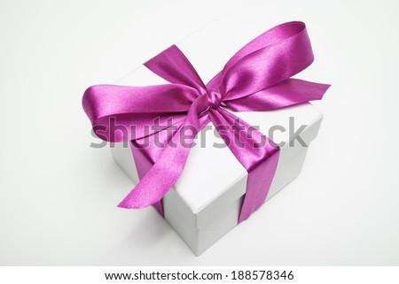 gift box on white with violet loop
