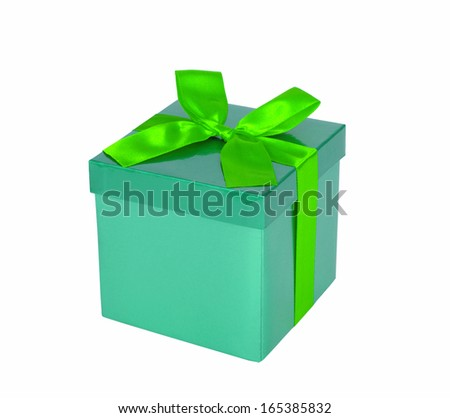gift box over white background  - stock photo