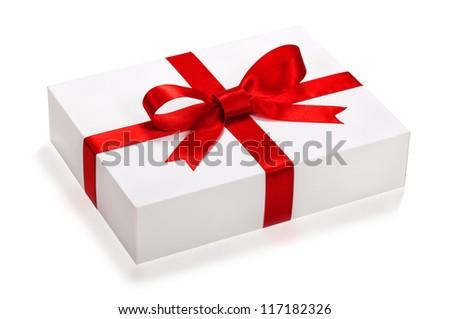 gift box, present over white background. - stock photo