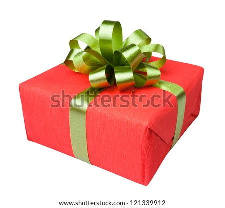 gift box present red on white background - stock photo