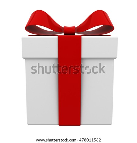 Gift box present with red ribbon bow isolated on white background. 3D rendering.