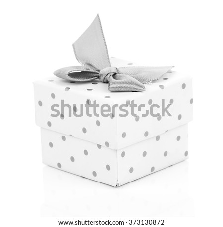 gift box present with satin bow isolated on white - stock photo
