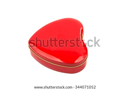 Gift box red heart on a white background