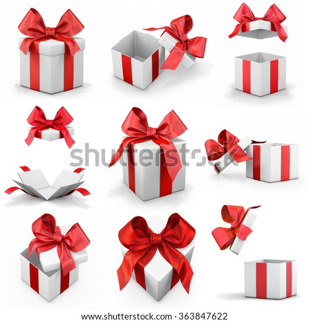 gift box set 3d render - stock photo