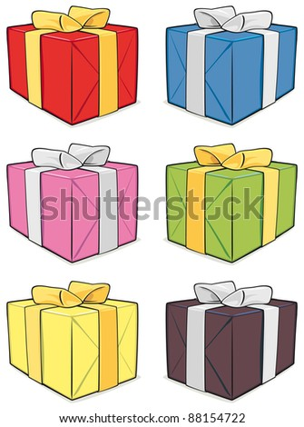 Gift box set isolated on white background - raster version