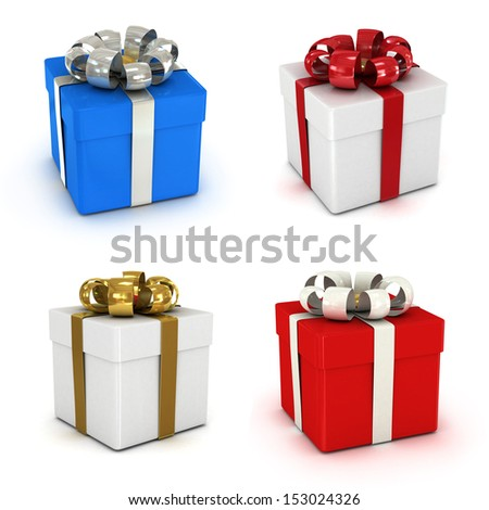 gift box set, with ribbon like a present. over white background 3d illustration. - stock photo