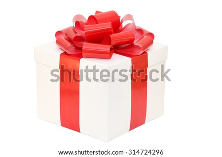 Gift box white with a red ribbon on a white background - stock photo