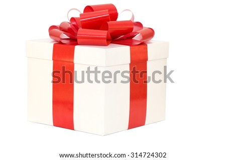 Gift box white with a red ribbon on a white background
