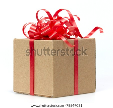 Gift Box whits red ribbon isolated on white - stock photo