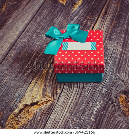 gift box with a blank title - stock photo