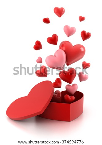 Gift box with a flying hearts on white. - stock photo