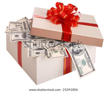 Gift box with banknote of dollar. - stock photo