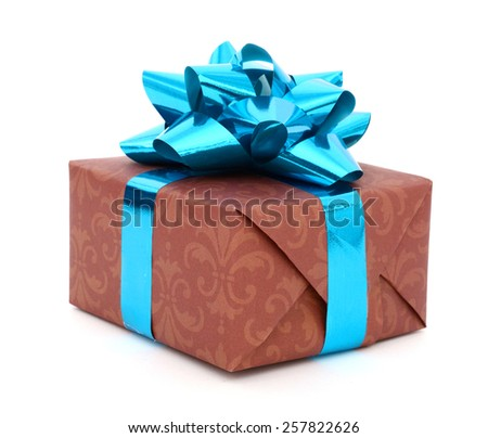 Gift box with blue bow isolated on white background - stock photo