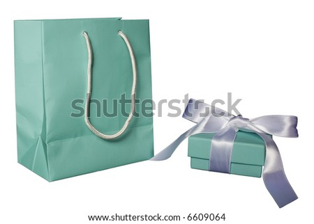 Gift  box with bow and matching gift bag. - stock photo