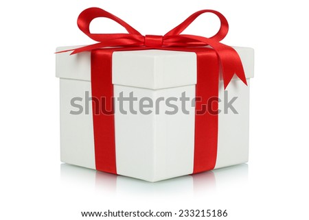Gift box with bow for gifts on Christmas, birthday or Valentines day isolated on a white background