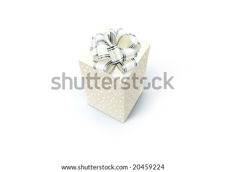 gift box with bow isolated on white background (white)