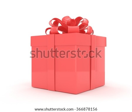 gift box with bows isolated on white