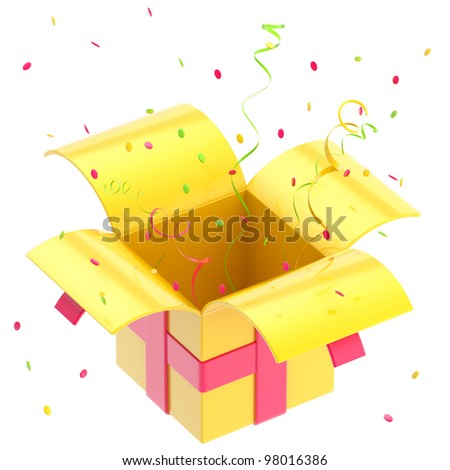 Gift box with colorful ribbon and confetti isolated on white - stock photo