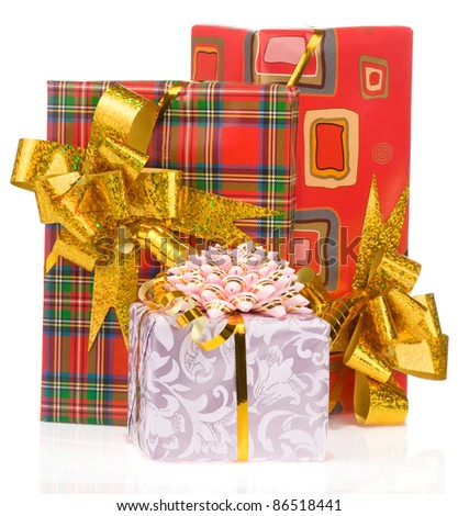 gift box with gold ribbon isolated on white background - stock photo