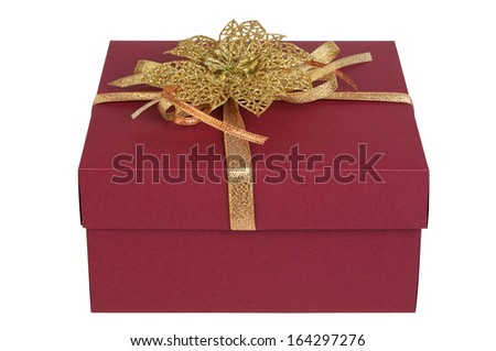 Gift box with golden bow. Closed, isolated on white background - stock photo
