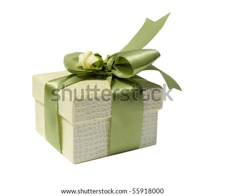 Gift box with green ribbon and a rose isolated on a white background - stock photo