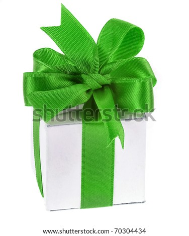gift box with green ribbon bow isolated on white - stock photo