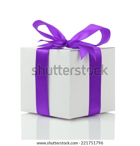 gift box with handmade purple ribbon bow, isolated on white