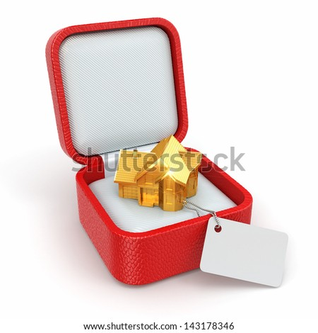 Gift box with house. Real estate concept. 3d - stock photo
