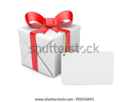 Gift box with label. Image contain clipping path