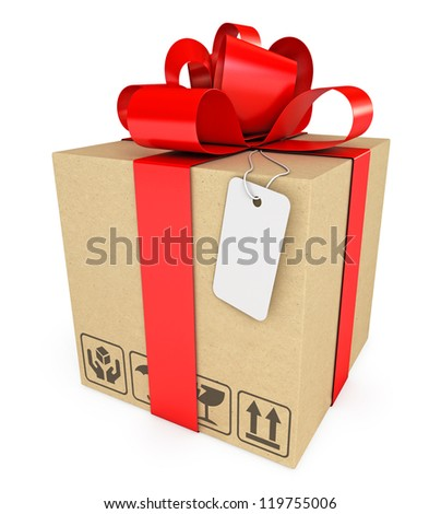 Gift box with label. Isolated on white background. 3d render - stock photo
