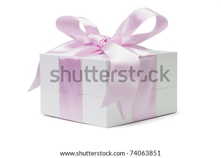 Gift box with large pink bow ribbon on white background - stock photo