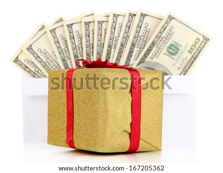 Gift box with money isolated on white - stock photo